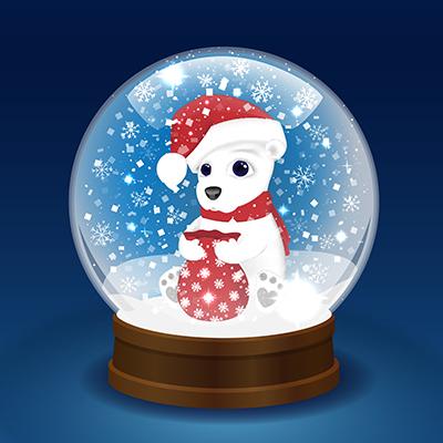 snow globe with holiday bear