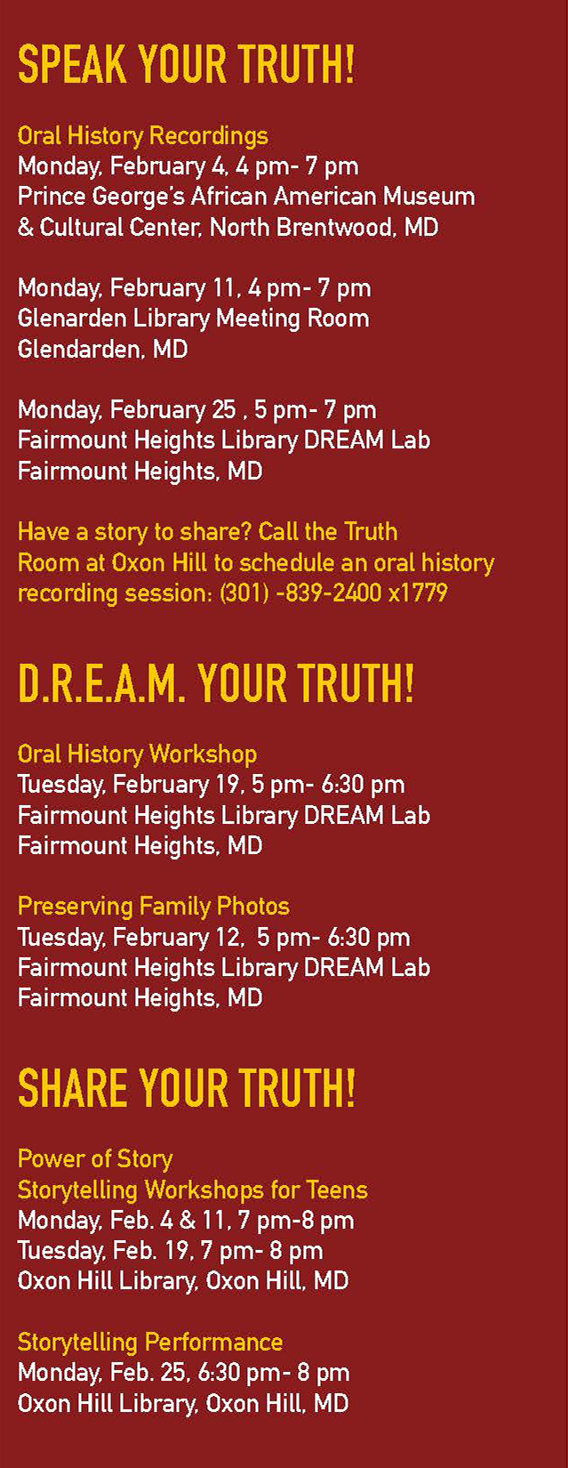 Speak Your Truth, D.R.E.A.M. Your Truth, Share Your Truth events listing