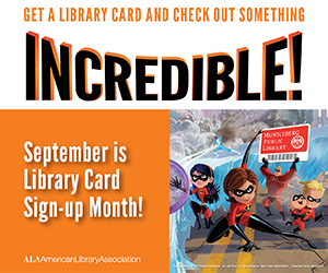 Library card sign up graphic