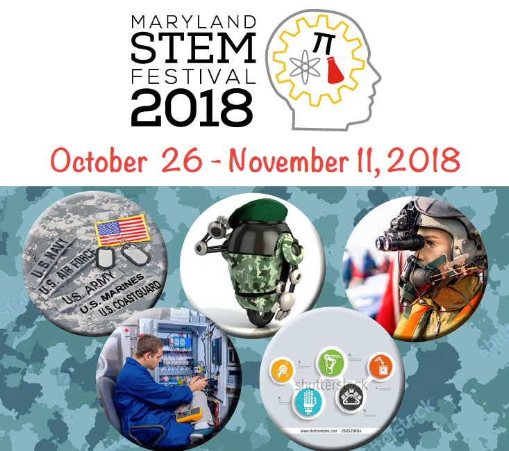 MD STEM Festival logo / military careers graphic