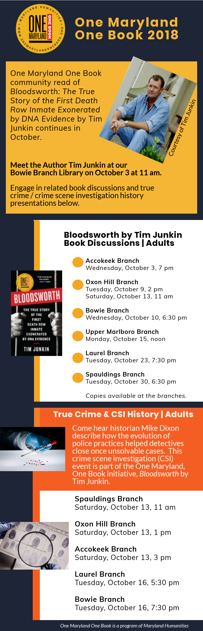 One Maryland One Book Bloodsworth by Tim Junkin infographic