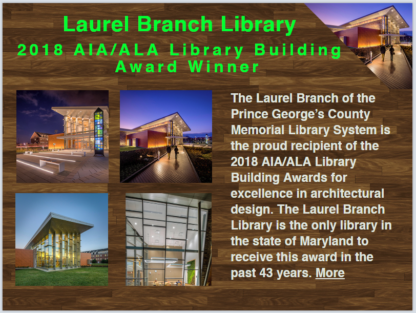 Laurel Branch Wins 2018 AIA / ALA Library Building Award