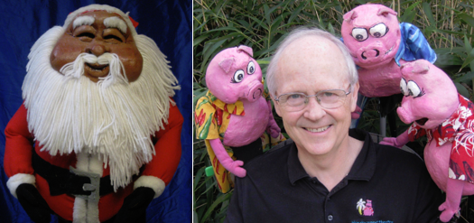 Blue Sky Puppet Theatre photos: Santa and three pigs and Mr. Cotter