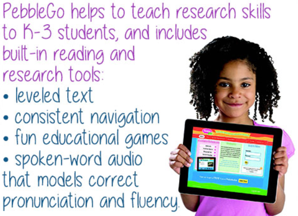 PebbleGo graphic with young girl holding tablet