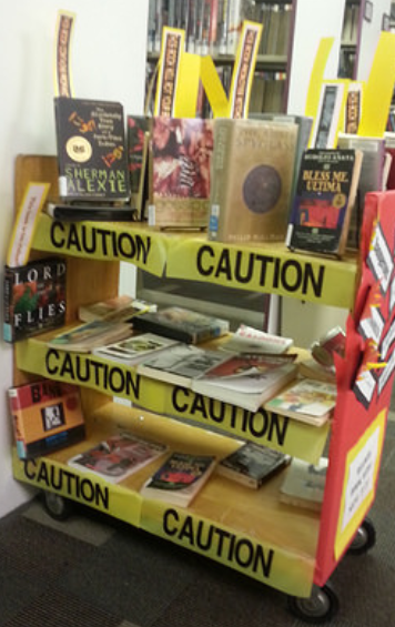 banned books graphic with caution tape